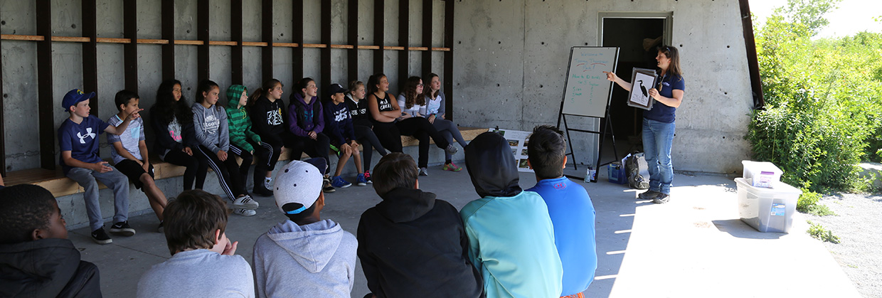 A TRCA educator leads a school program during a field trip at Tommy Thompson Park