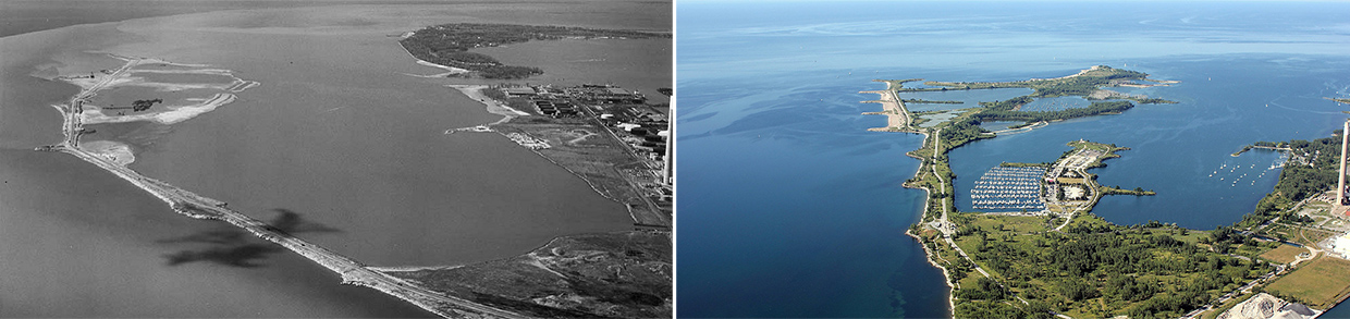 aerial views of Tommy Thompson Park in 1975 and 2012