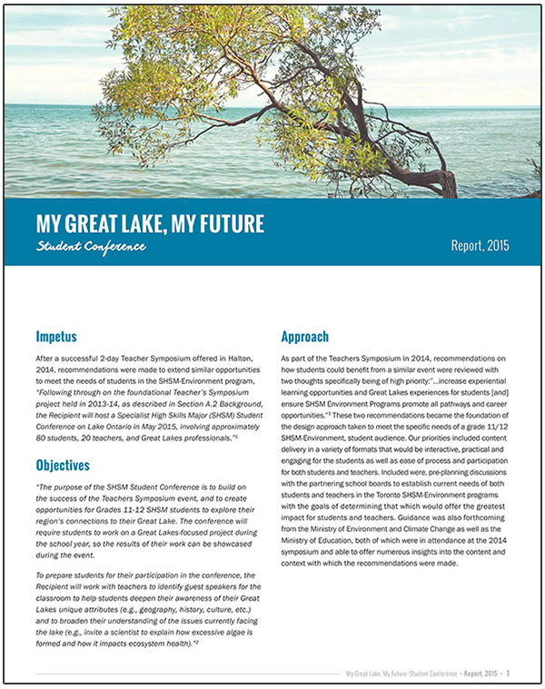 cover of My Great Lake summary report