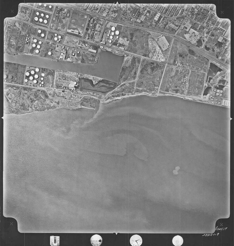 Aerial view of portlands in 1956