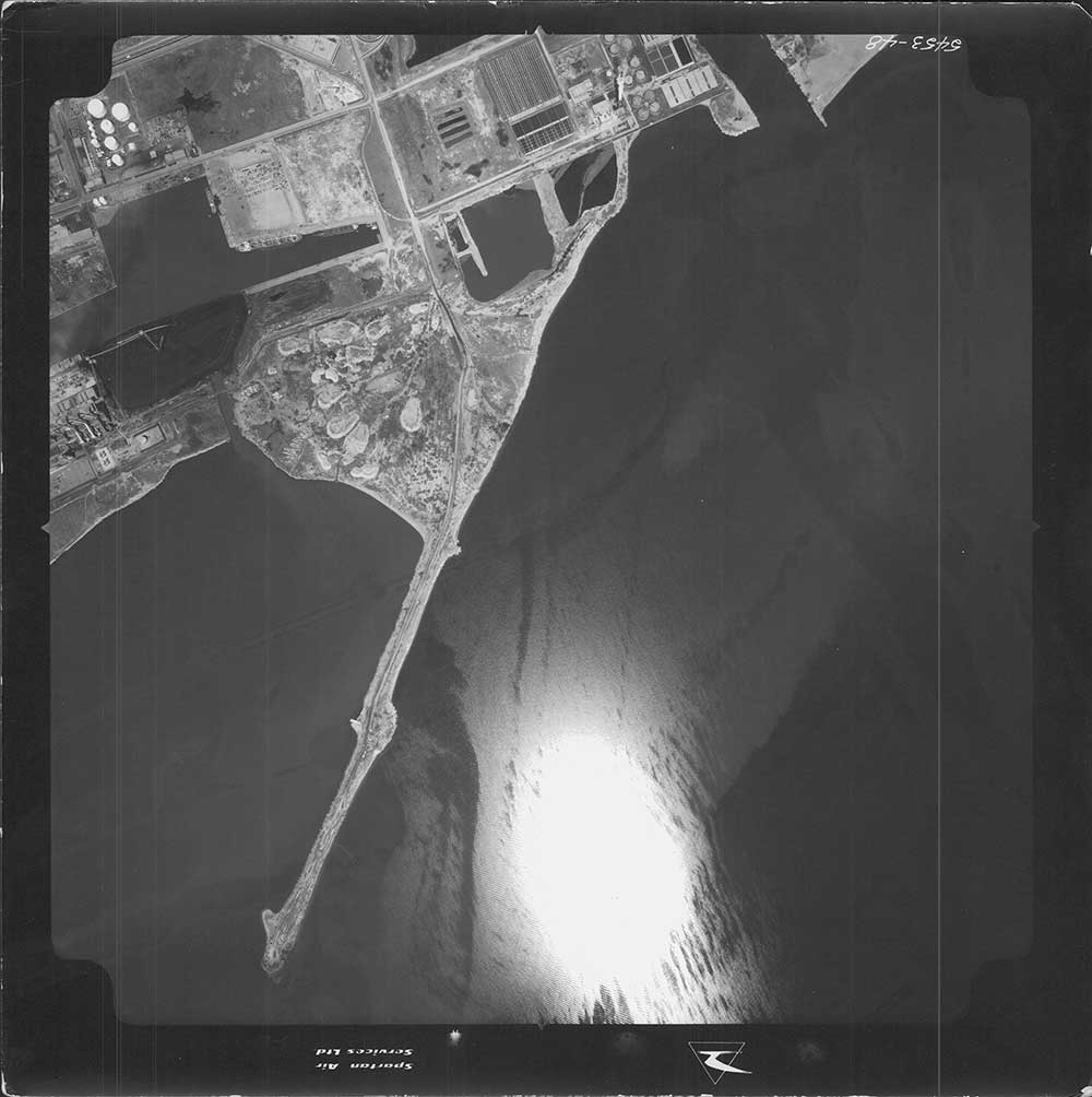 Aerial view of construction of Leslie Street Spit in 1967