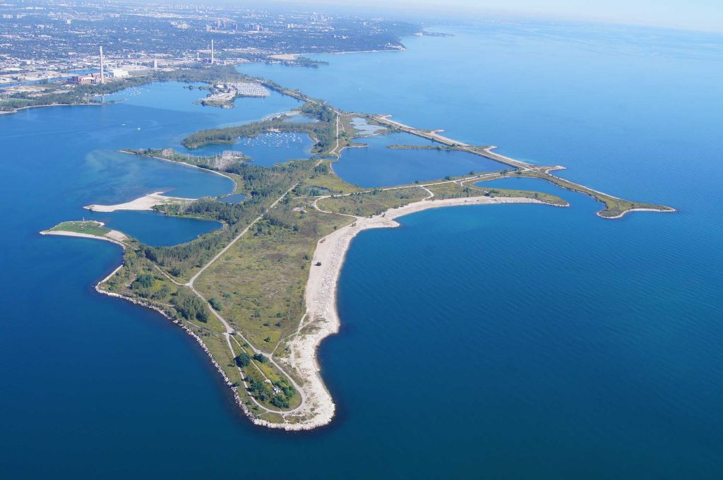 Aerial view of Leslie Street Spit, 2013.