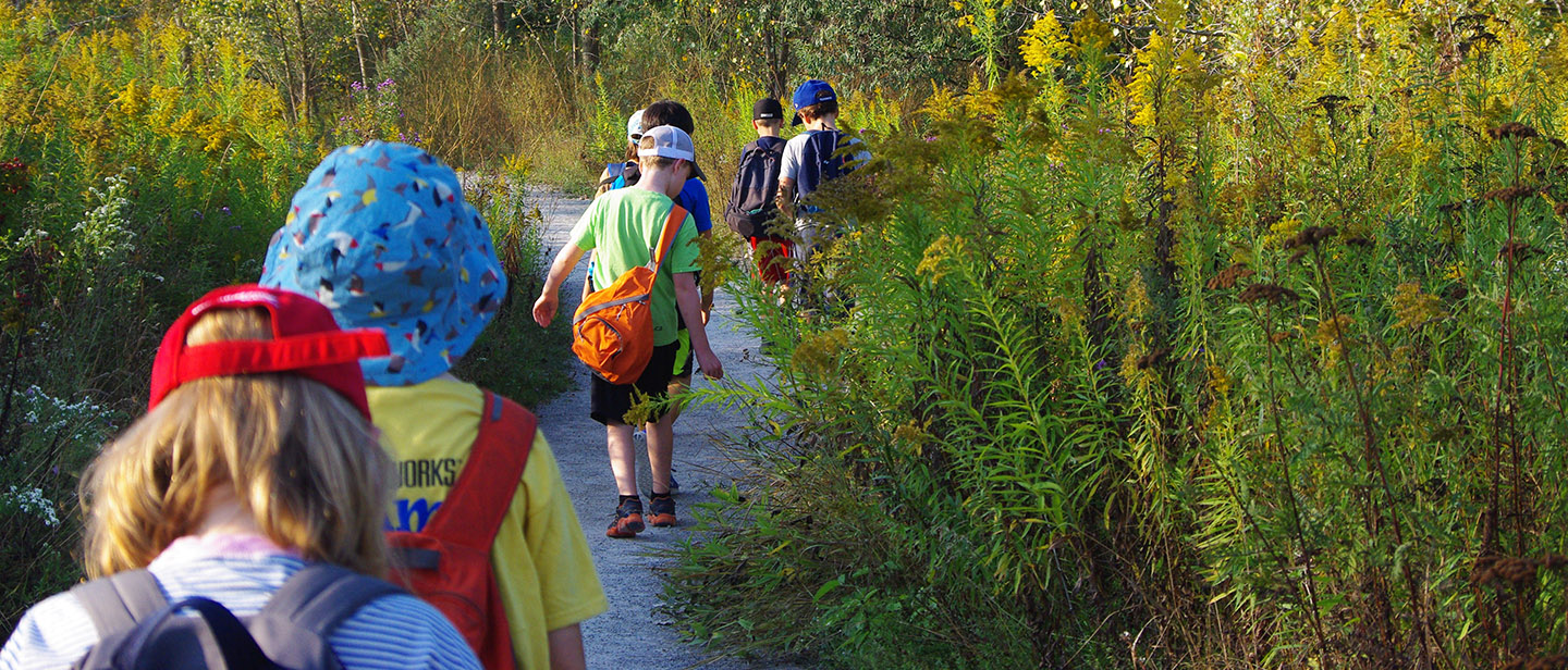 children explore trail at Tommy Thompson Park