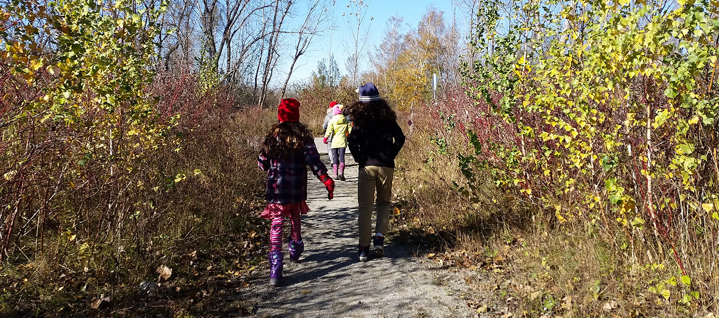 PA Day campers explore nature trail at Tommy Thompson Park in autumn