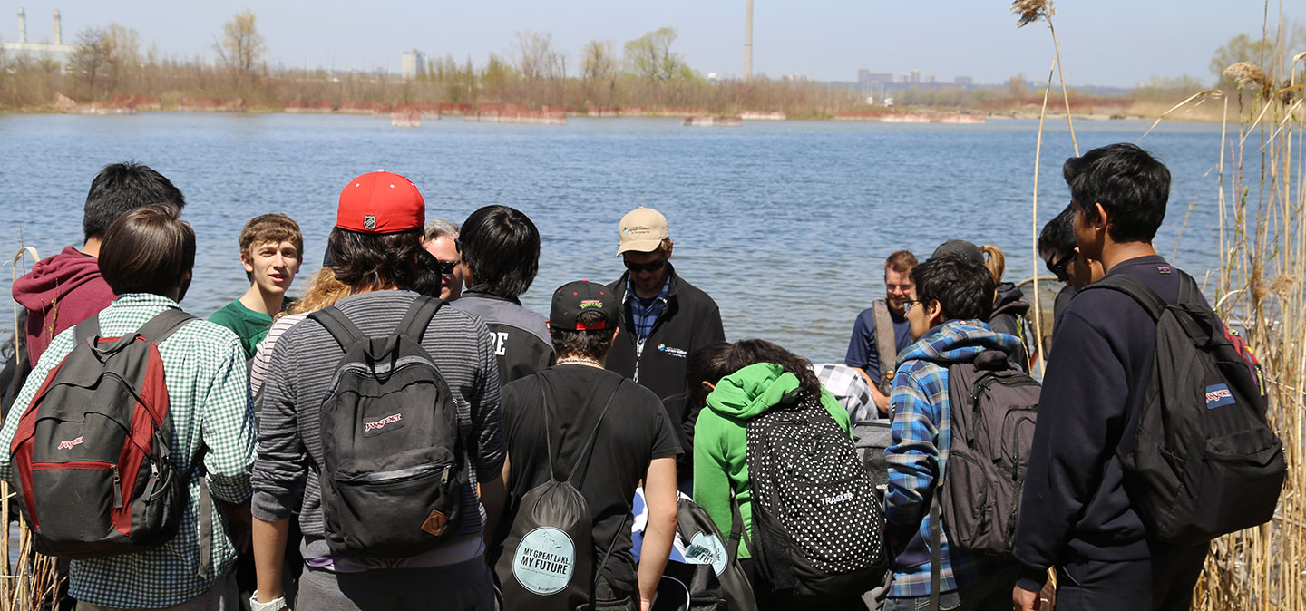 high school students on field trip at Tommy Thompson Park