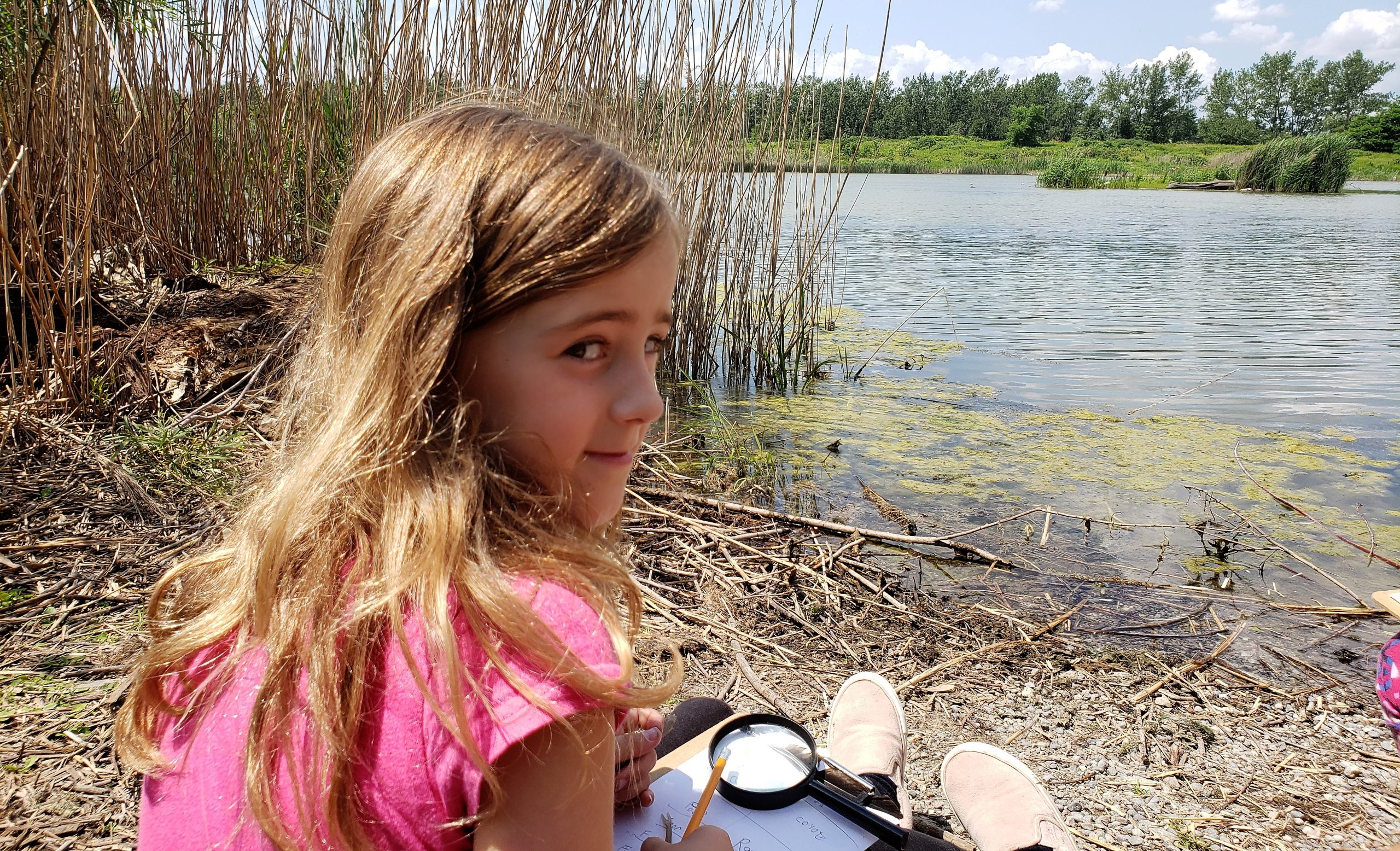 Nature Camper documenting sightings by a wetland